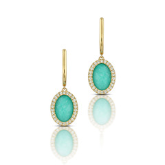 Oval Drop Earrings 18k Yellow Gold And Diamonds With Clear Quartz Over Amazonite (diamondanddesign) Tags: ovaldropearrings18kyellowgoldanddiamondswithclearquartzoveramazonite e7294az 18k yellow gold amazon breeze doves earrings 024 ct diamond clear quartz over amazonite front