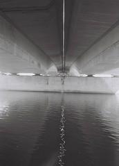 Under the Bridge, Inverness, March 2016 (Mano Green) Tags: bridge water river reflection ness inverness scotland uk black white light march spring 2016 canon canonet 28 ilford xp2 super 400 35mm
