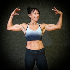 Having fun in the gym (ABWphoto!) Tags: one onewoman bodybuilder weights posing portrait inside muscles fitness healthylifestyle