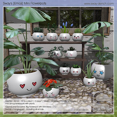 Sway's [Emoji] Mini Flowerpots | GachaLand (Sway Dench / Sway's) Tags: gacha plants pot emoji cute kawaii monstera succulent flower vr sl sways