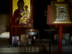 Icon small church Cyprus (Jonathon Bennett Photos) Tags: icon church greekorthodoxchurch religion colour art cyprus lysos painting light candles