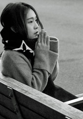 As if in Prayer - DUMBO, Brooklyn, NYC (TravelsWithDan) Tags: youngwoman asian portrait candid streetportrait praying seated bench dumbo brooklyn nyc newyork city urban bw blackandwhite canong3x twilight