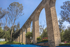 remedios aqueduct 2 (ikarusmedia) Tags: arcs aqueduct architecture park trees bushes flowers blue sky naucalpan state mexico colonial remedios