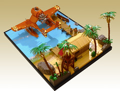 Coastal Base (JonHall18) Tags: ww2 dieselpunk fighter plane aircraft fantasy torpedo seaplane warplane moc lego bomber base coast jetty pacific vignette beach sea ocean