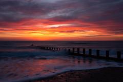 Beach Sunrise (PeskyMesky) Tags: aberdeen aberdeenbeach sunrise sunset water sea ocean red sky landscape cloud canon canon5d eos