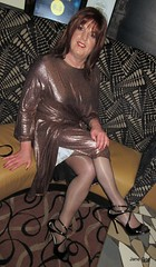 Partly unwrapped (janegeetgirl2) Tags: transvestite crossdresser crossdressing tgirl tv ts trans jane gee leeds first friday lff bronze dress high heels