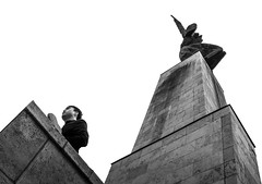 Beneath (peter-agoston) Tags: budapest citadell citadella statue minimal white lowangle blackandwhite blackwhite