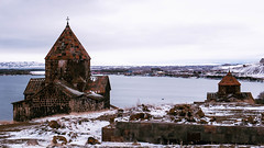 Sevanavank with lake Sevan in the background (Luciferasi) Tags: armenia hayastan travel march 2019 winter spring cold places monastery church architecture religion christianity apostolic history sevan sevanavank