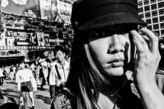 Close Up Shibuya (Victor Borst) Tags: street girl woman lady teen streetphotography streetlife reallife real realpeople asian asia asians sexy faces face mono monotone monochrome urban urbanjungle shibuyacrossing tokyo blackandwhite bw candid fuji fujifilm expression expressions japan japanese xpro2 beautiful beauty female hats hat city cityscape citylife happyplanet asiafavorites