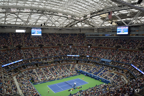 Arthur Ashe Stadium with the roof closed