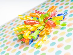 Ribbons & Polka Dots (Karen_Chappell) Tags: ribbon ribbons gift present parcel package polkadots orange blue yellow green multicoloured macro stilllife holiday party birthday curly curls colourful colours white colour color