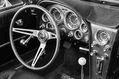 1964 Corvette Steering Wheel and Hurst Shifter (Photos By Clark) Tags: california canon2470 unitedstates location northamerica canon5div locale places where escondido us hurst corvette nik silverefx lightroom convert manual transmission collectable leather 5speed thesandiegoist