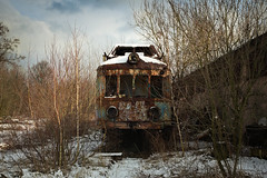 lost train (jkatanowski) Tags: urbex urban exploration poland europe trees train lost lostplace locomotive rust decay destroyed derelict decayed decaying snow outdoor outside clouds forgotten abandoned sony a7m2 1740mm