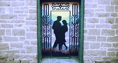 Sreet Art 2019 (Mr. Happy Face - Peace :)) Tags: hww window art art2019 legion pinchercreek albertabound canada alberta streetart man woman romance dance