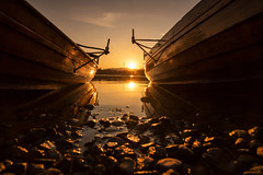 Between the Boats (Tracey Whitefoot) Tags: 2019 tracey whitefoot april lake district national park lakes windermere waterhead sunset dusk ground level rowing boats gold golden pebbles cumbria between