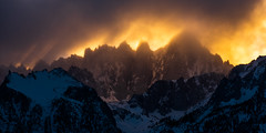 Fire and Ice (Kurt Lawson) Tags: alpenglow backlight california clouds crepuscular crest dramatic face glow keeler mount mountwhitney needles nevada peak rays sierra snow storm summit sunset thor trees whitney