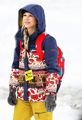 Colorful Coat (wyojones) Tags: montana whitefish whitefishlake citybeach ice winter feburary snow official hood blonde coat colorful yellowpants pack gloves woman girl beautiful cute penguinplunge braid wyojones
