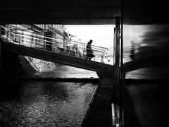 The air of Kyoto Kamogawa (明遊快) Tags: bw reflection river bridge couple people kyoto silhouette dark contrast sunlight shadows winter japanese 京都 鴨川