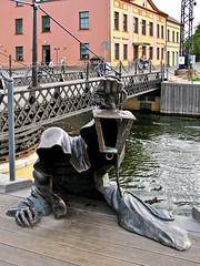 "photo - ""Black Ghost"", Klaipeda, Lithuania (Jassy-50) Tags: photo klaipeda lithuania publicart art artwork blackghost ghost lantern sculpture metalsculpture metal bridge"