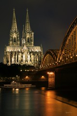 "Kolner Dom (2Colnagos) Tags: destination amazingplace incredible worldheritagesite ""longexposure"" giant religious arches water dom explore germany europe cologne cathedral gothic rhine unesco world night towers bridge river"