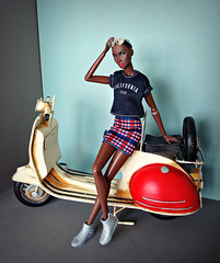 Old Vespa (Deejay Bafaroy) Tags: fashion royalty fr integrity toys doll puppe adele makeda timeless black schwarz portrait porträt barbie clothes kleider shoes schuhe red rot blue blau white weiss sneakers vespa miniatur 16 scale playscale beige miniature