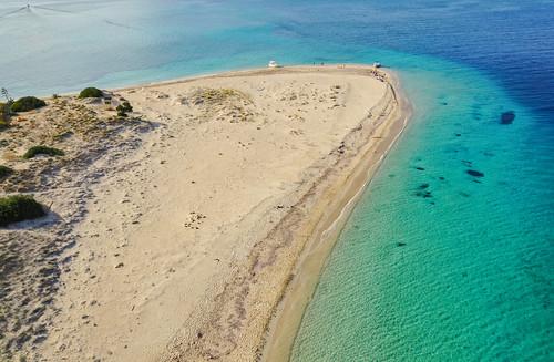 Aerial of Marathonisi island beach Zakynthos Greece