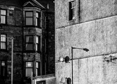 Rothesay Shadows - Dec 2018 (GOR44Photographic@Gmail.com) Tags: rothesay bute argyll shadows monoscotland scotland sunlight mono bw window gor44 island houses panasonic g9 100300mmf456mk2 street