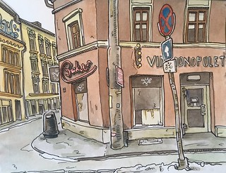 Oslo, Norway. Drawn on location.