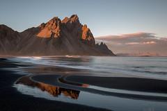Patterns on Stokksnes Beach (Sophie Carr Photography) Tags: stokksnes mountains sunset peaks blacksandbeach beach iceland