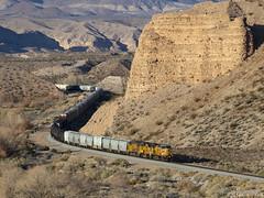 Fortress Rock (zwsplac) Tags: union pacific railroad uprr train manifest mogwc fortress rock desert rox nevada caliente subdivision winter shadow cliffs meadow valley wash huntsman canyon