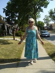 Freedom! (Laurette Victoria) Tags: halter dress blue blonde laurette milwaukee summer woman sunglasses