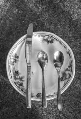 after breakfast (louys:) Tags: stilllife macro bw mono fuji xe3 xf18mmf2r spoons knife plate primelens closeup