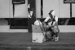 Just Waiting (Beegee49) Tags: street man sitting boxes smoking waiting blackandwhite monochrome bw luminar sony a6000 happyplanet bacolod city philippines asia