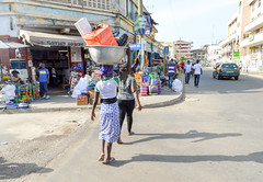 Safeway agencies (Francisco Anzola) Tags: ghana accra africa city market woman balance merchandise dress street sunny
