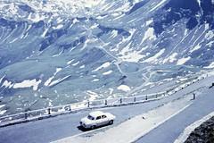 Hairpins (zeesstof) Tags: geo:lat=4712175499 geo:lon=1282239603 geotagged zeesstofsmom kodachrome film 35mmslidefilm mamiya 1969 summerholiday mountains alps austrianalps triptothegrossglockner snow snowinsummer grosglocknerhochalpenstrase hairpinbends alpineroad