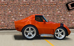 larry in front of wall (brent319) Tags: iowa unitedstates us corvette vette 76 flares flared ls1 intro wheels introwheels orange custom image c3 photoshop short