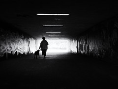 tunnel walk (Sandy...J) Tags: light darkness silhouette backlight tunnel underpass urban noir street streetphotography sw schwarzweis strasenfotografie stadt city germany grafitti blackwhite bw monochrom mono olympus walking walk women dog atmosphere mood absoluteblackandwhite