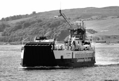 Scotland West Highlands Argyll the car ferry Loch Riddon leaving the island of Cumbrae 1 July 2018 by Anne MacKay (Anne MacKay images of interest & wonder) Tags: scotland west highlands argyll caledonian macbrayne calmac car ferry loch riddon island cumbrae monochrome blackandwhite landscape 1 july 2018 picture by anne mackay