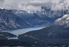 Lake Minnewanka, a view from atop Sulphur Mountain in Alberta Canada (PhotosToArtByMike) Tags: lakeminnewanka banffgondola sulphurmountain banff banffnationalpark observationdeck canadianrockies gondola cableway albertacanada cablecar scenic mountain mountains bowvalley bowriver panoramicview