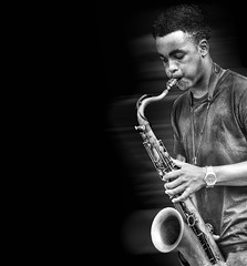 (daystar297) Tags: portrait music musician teen teenager black africanamerican sax saxophone horn jazz blues nikon performance bnw blackandwhite monochrome bw