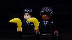 Lego Banksy Pulp Fiction (Eddy Plu) Tags: lego banksy street art streetart urbanart pulp fiction pulpfiction minifigures minifiguren minifig wall suit minifigs photography legography