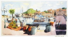 Port-Vendres - Occitanie - France (guymoll) Tags: googleearthstreetview portvendres occitanie france roussillon croquis sketch aquarelle watercolour watercolor aguarela acuarela port harbour bateaux boats ships