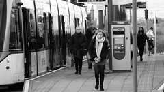 Tram Time 02 (byronv2) Tags: edinburgh edimbourg scotland blackandwhite blackwhite bw monochrome peoplewatching candid street saintandrewssquare newtown tram publictransport platform commuter