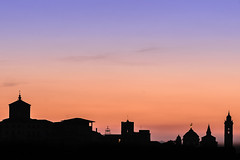 my 1st 2019 sunrise silhouette (freemanphoto) Tags: bergamo uppercity uppertown lombardia lombardy italia italy unescoworldheritage cittàalta silhouette towers sunrise alba skyline tower dusk sky