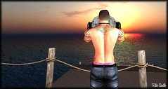Watching the sun  / Observant le soleil  / Viendo el sol (Retogay (SL)) Tags: gay mesh men signature gianni seconddlife catwa victor piercing boy tatto necklace black glove ascend jeans sunset tong pink sea post rope watch reflection wood