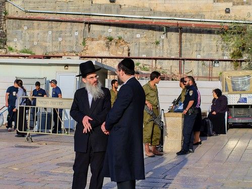 Guards and Soldiers Talking In Western Wall Plaza