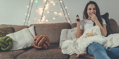 Woman at home (drvictoriajmondloch) Tags: newyearsday photography christmasdecoration onlyyoungwomen women comfortable adultsonly softness domesticlife lightingequipment remotecontrol cute popcorn jeans youngadult adult smiling laughing watching eating resting christmastree spectator oneperson illuminated relaxation joy happiness sensuality tranquilscene white brown blue lifestyles indoors horizontal humanhair people decoration livingroom homeinterior christmas televisionset tshirt sofa beautifulwoman pilow beautifulpeople newyear dr victoria j mondloch