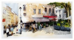 Avignon - Provence - France (guymoll) Tags: avignon provence france croquis aquarelle watercolour watercolor aguarela acuarela rue city café lumière arbres platane panoramique panoramic