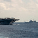 USS Stennis makes its approach to the USNS Diehl during replenishment-at-sea operations in the South China Sea