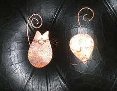 Cat & Mouse Bookmarks (coppercauldrondesigns) Tags: cat mouse copper bookmarks recycled rustic